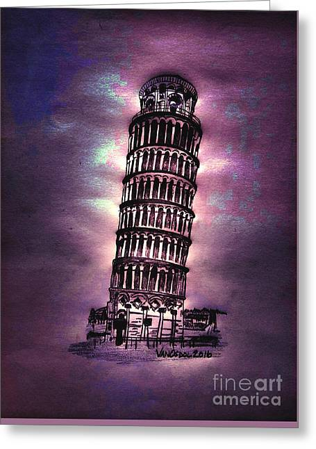 Leaning Tower Of Pisa - Purple Moonlight Greeting Card