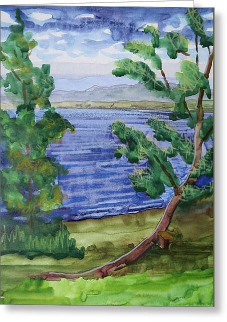 Leaning Tree By Lake Sacandaga Greeting Card by Bethany Lee