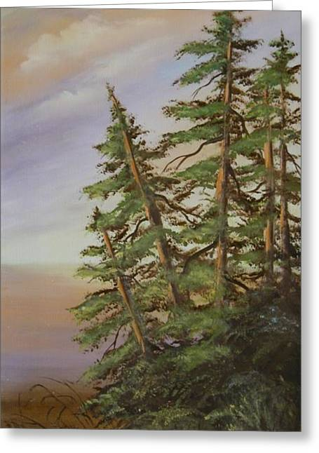 Greeting Card featuring the painting Leaning Trees by Joni McPherson