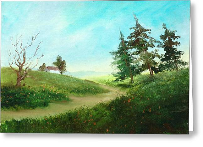 Leaning Trees Greeting Card by Sally Seago