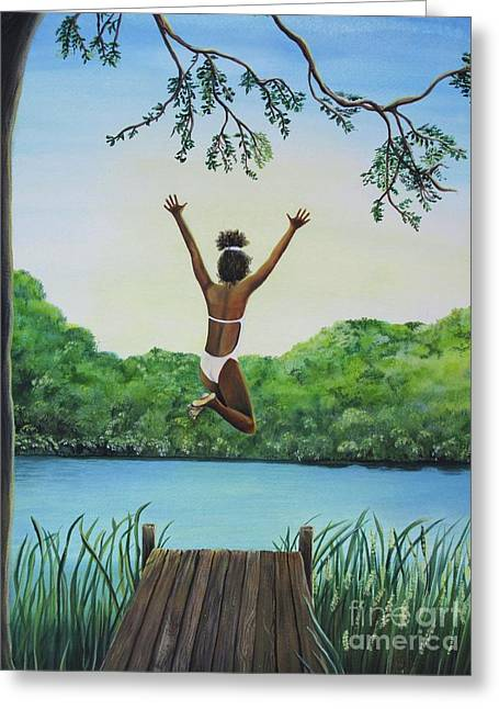 Leap Of Faith Greeting Card by Kris Crollard