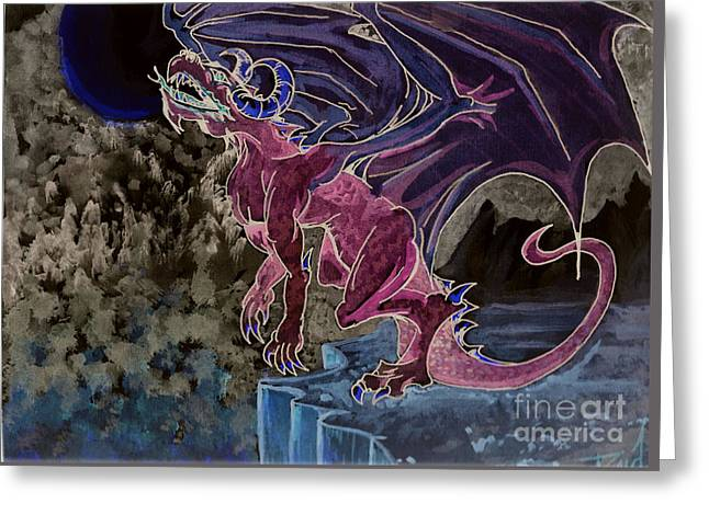 Leaping Dragon 2 Greeting Card by Reed Novotny