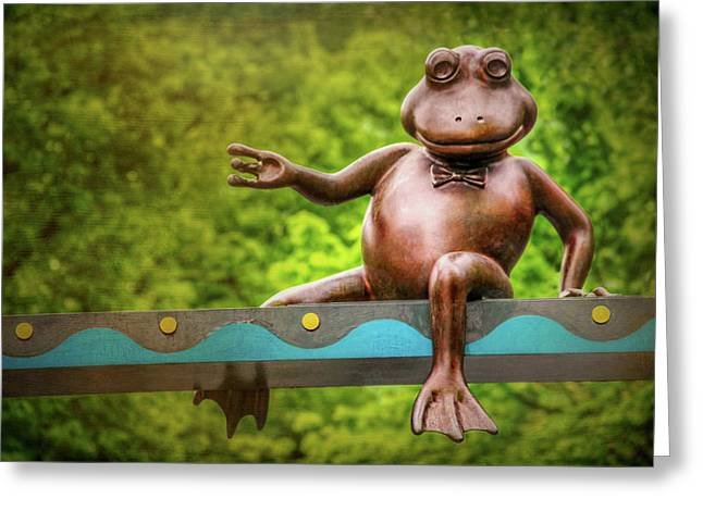 Leaping Frog In Boston  Greeting Card by Carol Japp