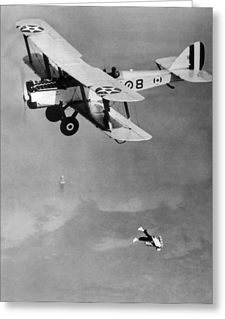 Leaping From Army Airplane Greeting Card by Underwood Archives