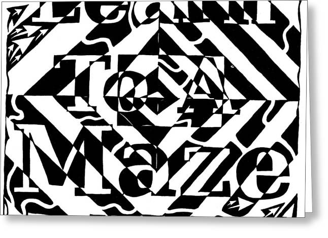 Learn To A Maze Book Cover 1 Greeting Card by Yonatan Frimer Maze Artist