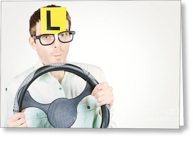 Learner Driver At Smart Driving School Greeting Card