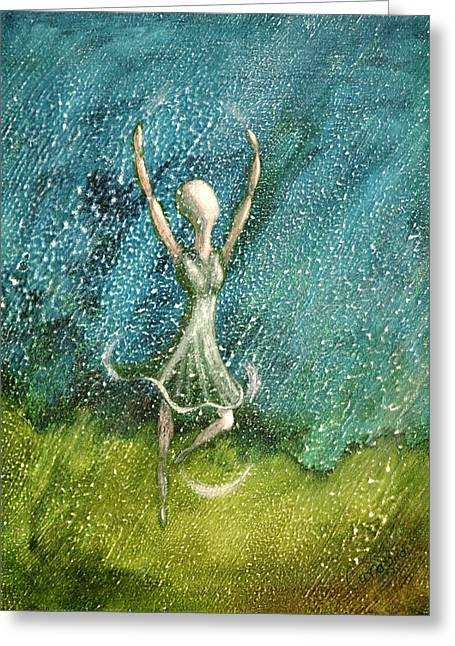 Learning To Dance In The Rain  Greeting Card by Charlotte Smith