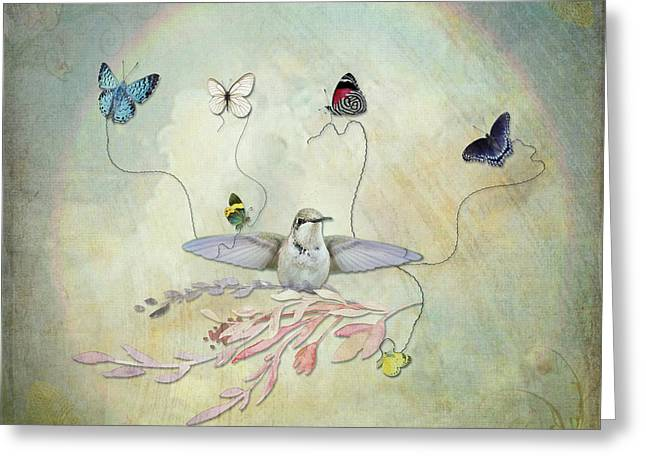 Greeting Card featuring the digital art Learning To Fly by Sue Collura