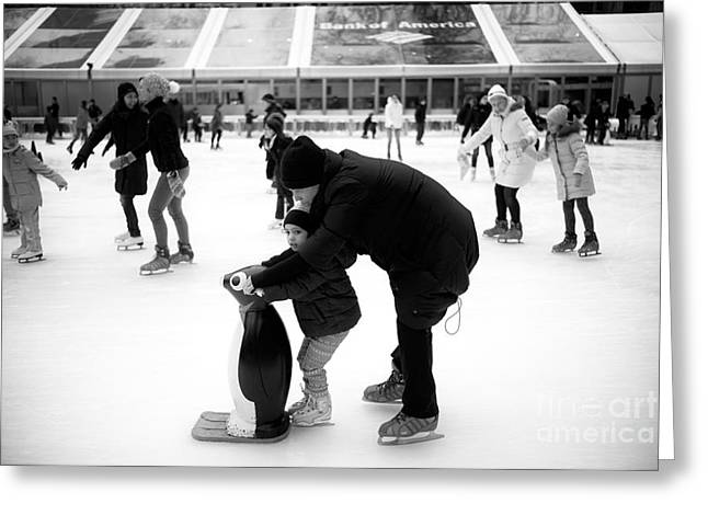 Learning To Skate Greeting Card by John Rizzuto