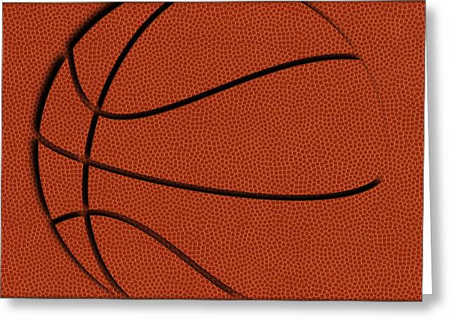 Leather Basketball Art Greeting Card by Joe Hamilton