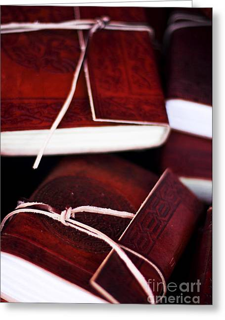 Leather Bound Books Greeting Card by Jorgo Photography - Wall Art Gallery