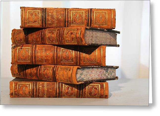Stacks Of Books Greeting Cards - Leather Bound  Greeting Card by Marcie  Adams