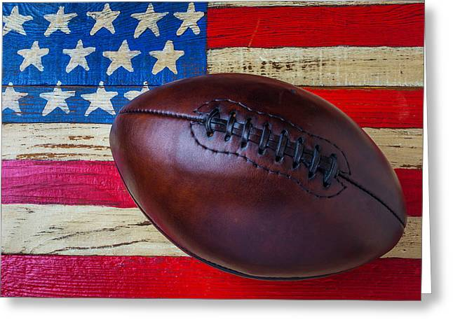 Leather Football On Flag Greeting Card by Garry Gay