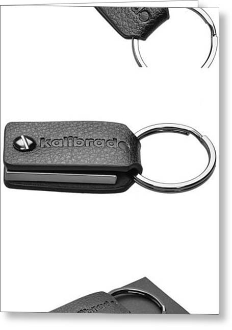 Leather Keychain For Men Or Women From Designer Kalibrado With Detachable Key Fob, Holder For Belt, Black Ring And Snap Hook Chain, Best For Car, Valet, Home Or Office Keys Greeting Card by Pocket Wallet
