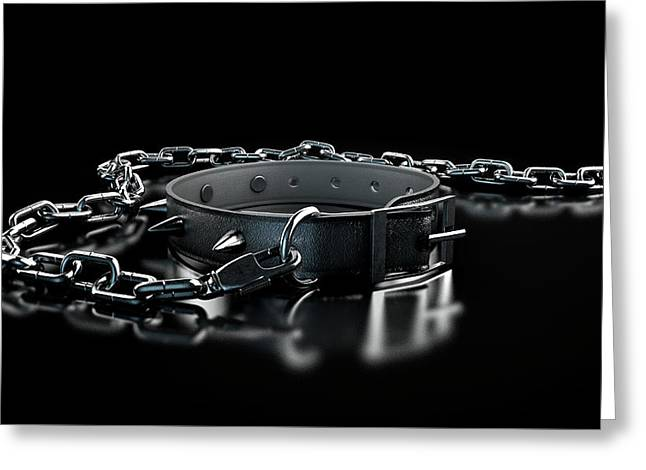 Leather Studded Collar And Chain Greeting Card by Allan Swart