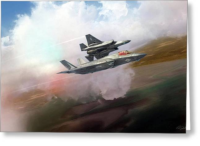 Leatherneck Lightnings Greeting Card by Peter Chilelli