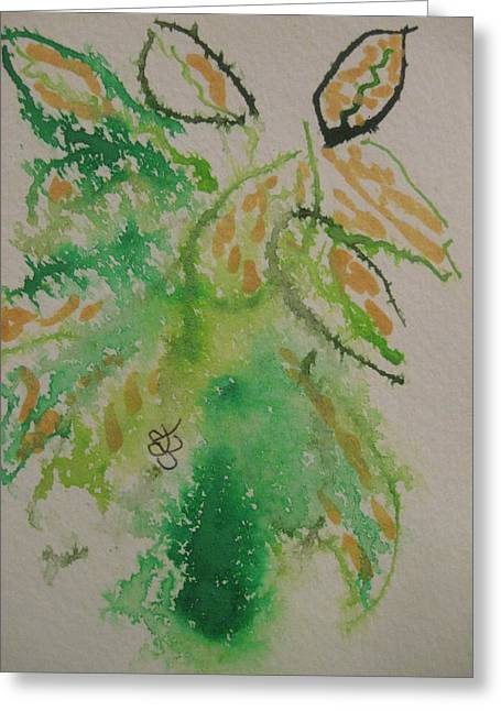 Greeting Card featuring the drawing Leaves by AJ Brown