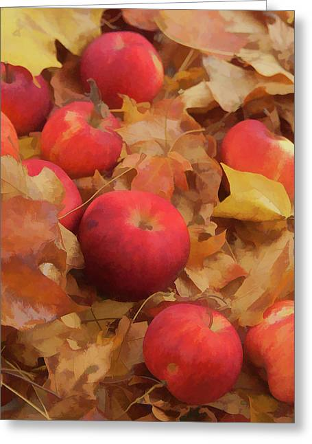 Greeting Card featuring the photograph Leaves And Apples by Michael Flood