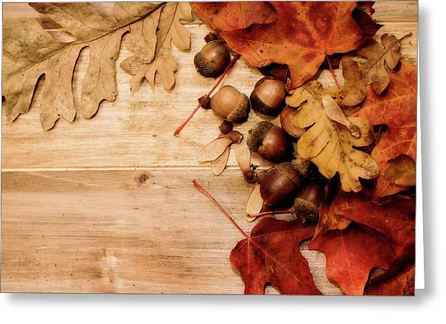 Greeting Card featuring the photograph Leaves And Nuts 1 by Rebecca Cozart