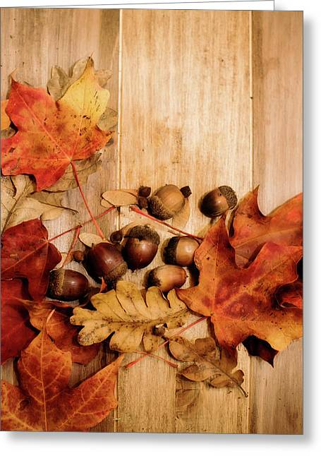 Greeting Card featuring the photograph Leaves And Nuts 2 by Rebecca Cozart