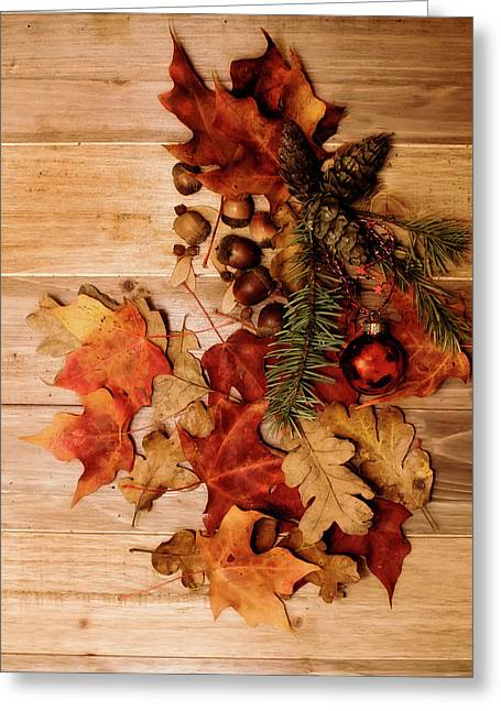 Leaves And Nuts And Red Ornament Greeting Card by Rebecca Cozart