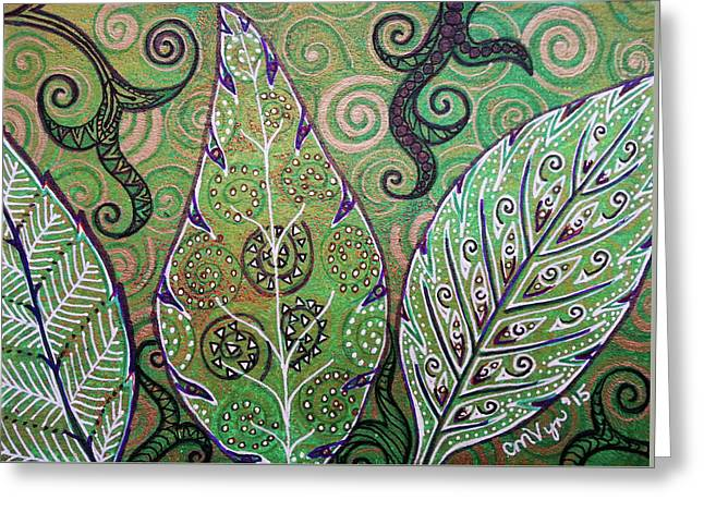 Leaves And Spirals Greeting Card