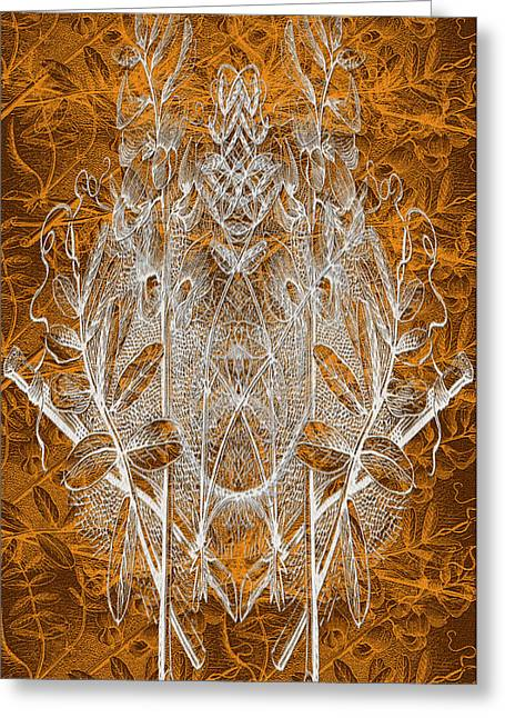 Leaves And Twine Greeting Card by Evelyn Patrick