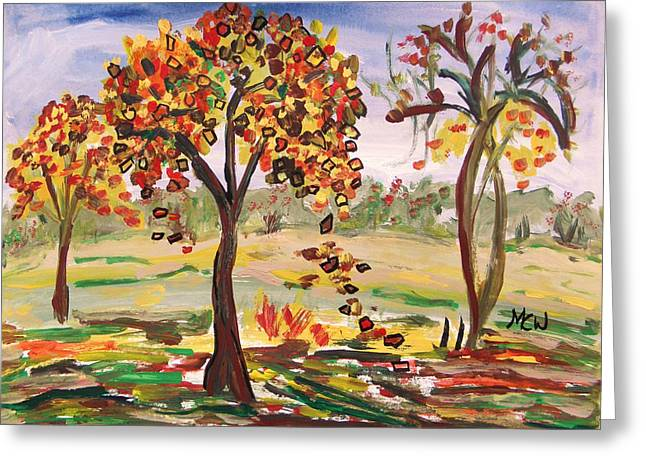 Leaves Are Falling Greeting Card by Mary Carol Williams