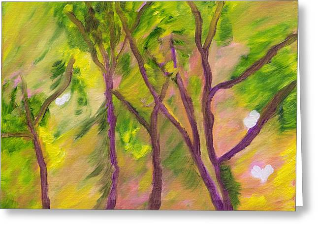 Leaves Blowing In The Wind Greeting Card by Meryl Goudey