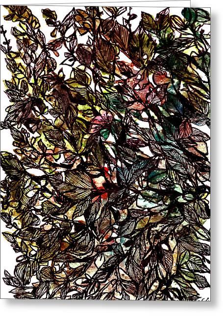 Leaves Hidden Everywhere Greeting Card by Garima Srivastava
