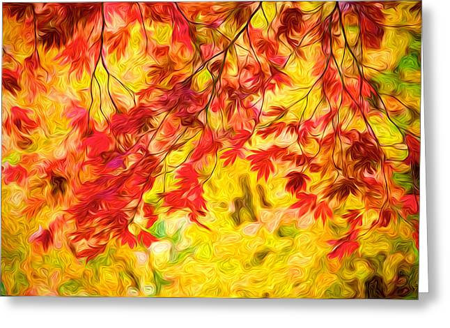 Leaves Of Autumn Greeting Card by Julius Reque