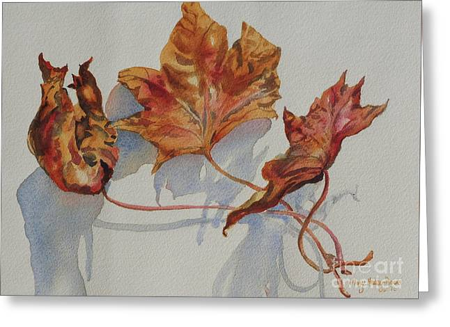 Greeting Card featuring the painting Leaves Of Fall by Mary Haley-Rocks