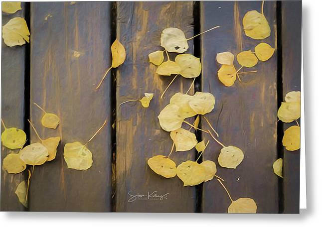Leaves On Planks Greeting Card