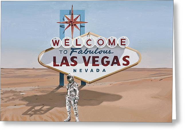 Leaving Las Vegas Greeting Card by Scott Listfield