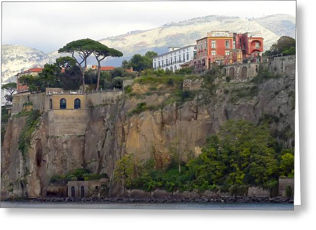 Leaving Positano Greeting Card by Janet Fikar