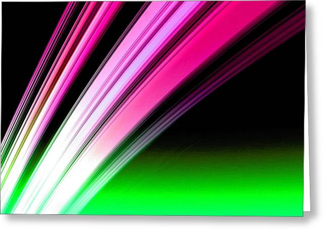 Leaving Saturn In Hot Pink And Green Greeting Card
