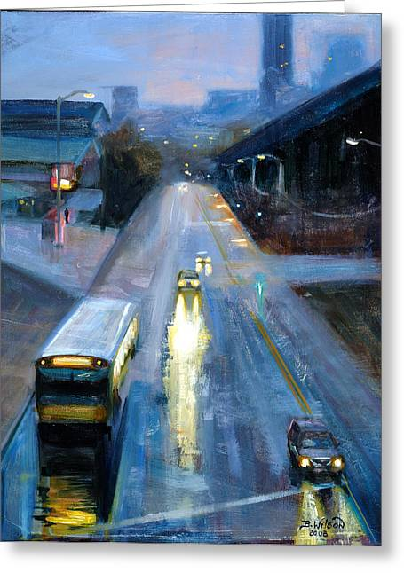 Headlight Paintings Greeting Cards - Leaving Seattle Greeting Card by Barbara Wilson