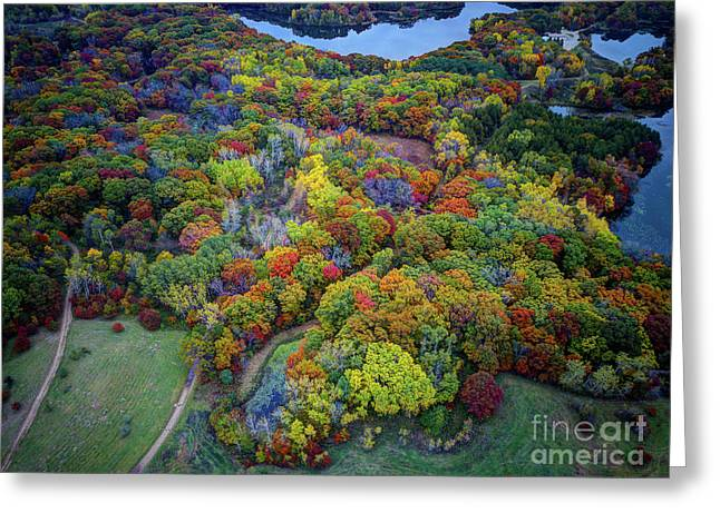 Lebanon Hills Park Eagan Mn Autumn II By Drone Greeting Card