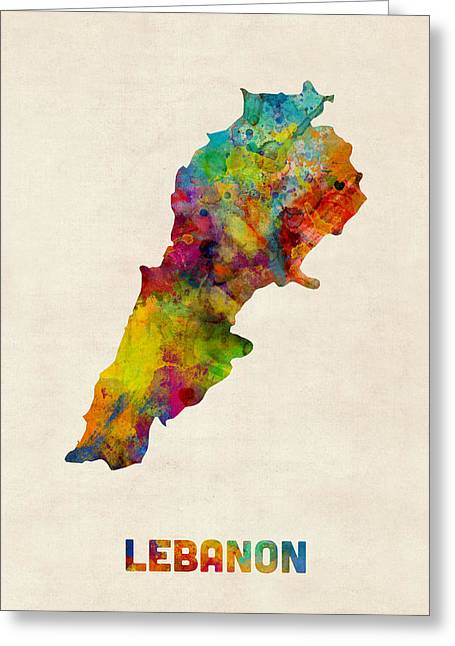 Lebanon Watercolor Map Greeting Card by Michael Tompsett