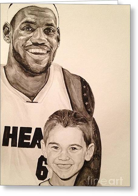 Greeting Card featuring the painting Lebron And Carter by Tamir Barkan