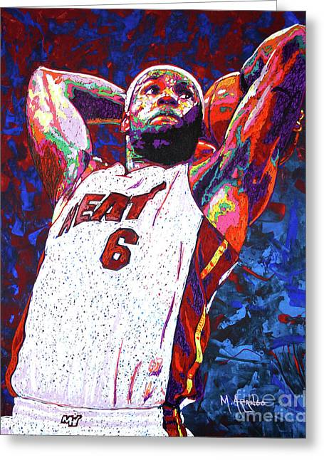 Lebron Dunk Greeting Card by Maria Arango