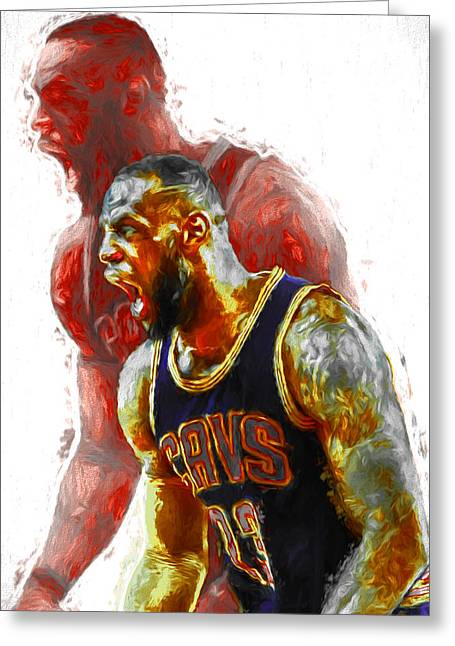 Lebron James 23 1 Cleveland Cavs Digital Painting Greeting Card