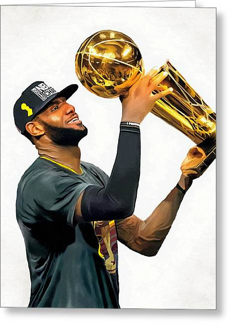 Lebron James Cleveland Cavaliers Champions Portrait Painting Greeting Card