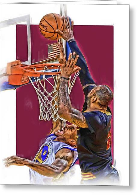 Lebron James Cleveland Cavaliers Oil Art Greeting Card by Joe Hamilton