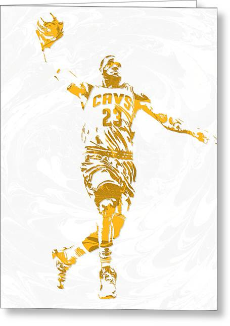 Lebron James Cleveland Cavaliers Pixel Art 12 Greeting Card