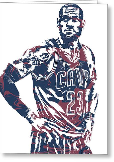 Lebron James Cleveland Cavaliers Pixel Art 25 Greeting Card