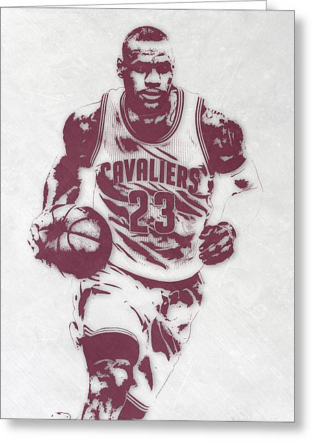 Lebron James Cleveland Cavaliers Pixel Art 4 Greeting Card by Joe Hamilton
