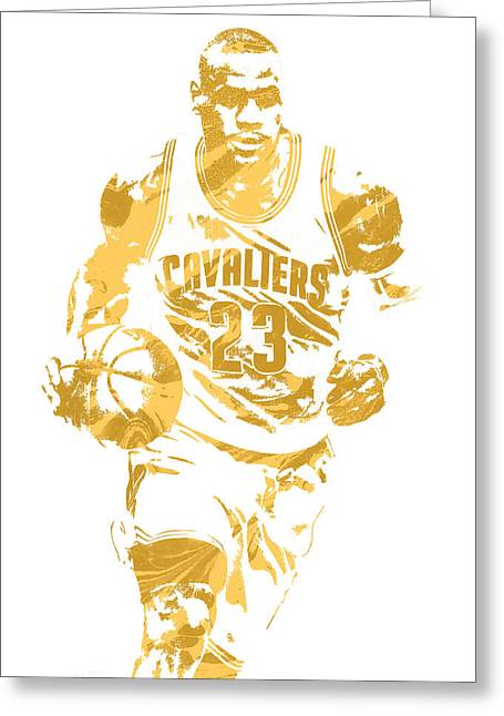 Lebron James Cleveland Cavaliers Pixel Art 7 Greeting Card by Joe Hamilton