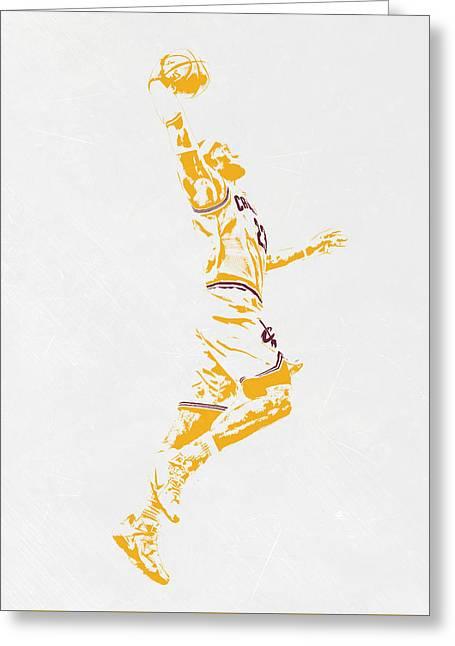 Lebron James Cleveland Cavaliers Pixel Art Greeting Card by Joe Hamilton