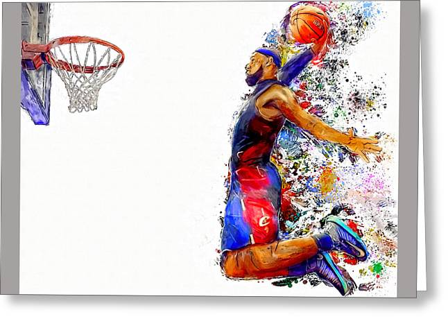 Lebron James Dunk In Color Painting Greeting Card